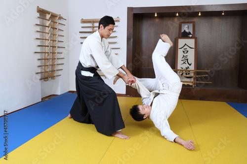 Papiers peints Combat Demonstration of fighting art Aikido.