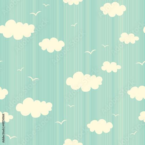 Fototapeta na wymiar seamless pattern with clouds and birds