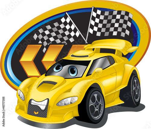 Naklejka ścienna Żółty samochodzik z chorągiewkami mety