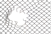 Hole In The Mesh Wire Fence