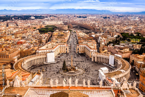Rome, Italy. Famous Saint Peter's Square in Vatican and aerial v Poster
