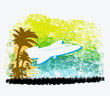 illustration of airplane with palm of tropics