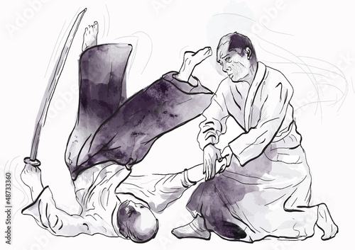 Canvas Print aikido - drawing converted into vector