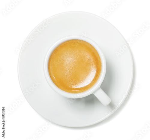 Deurstickers koffiebar Espresso cup top view