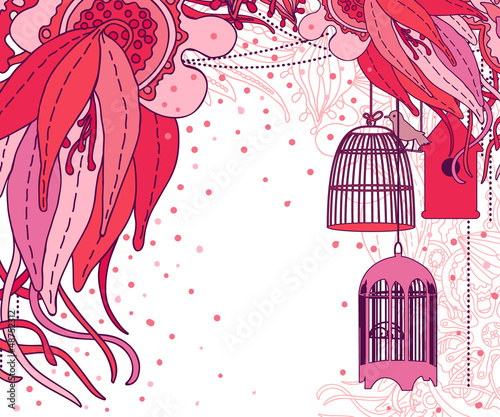 Acrylic Prints Birds in cages Floral card.