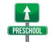 road traffic sign with a preschool