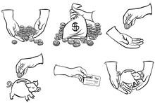 Pieniądze W Rękach Zestaw Czarno Białych Ilustracji Finansowych
