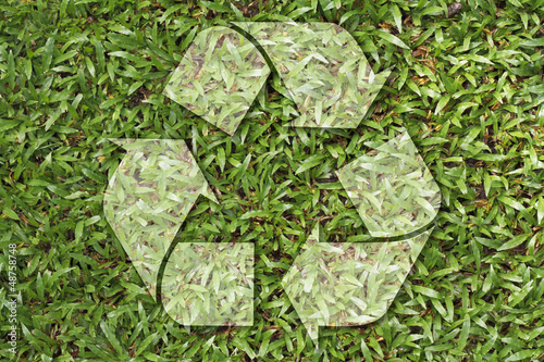 Recycle Symbol On Grass Texture Buy This Stock Photo And