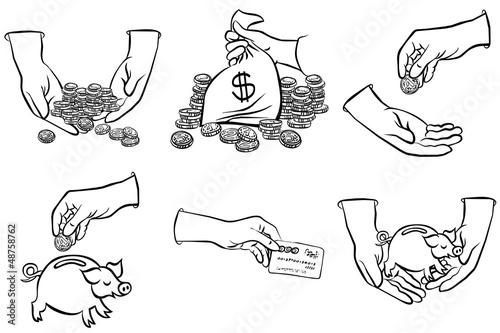 Fototapeta pieniądze w rękach zestaw czarno białych ilustracji finansowych obraz