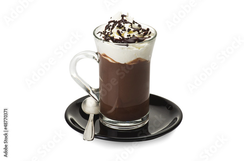 Spoed Foto op Canvas Chocolade Hot chocolate close up on the white
