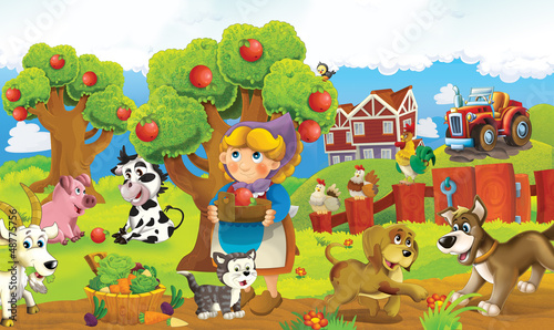 Photo sur Toile Ferme On the farm - the happy illustration for the children