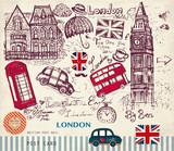 Fototapeta Londyn - Vector hand drawn card with London symbols