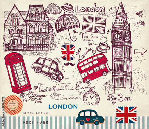 Tuinposter Doodle Vector hand drawn card with London symbols