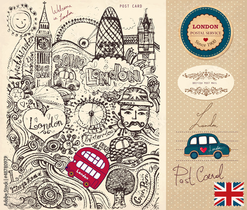 Poster Doodle Vector hand drawn card with London symbols