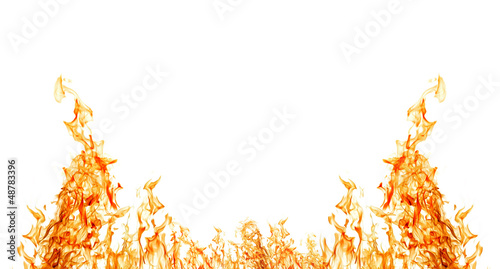 Keuken foto achterwand Vlam isolated on white half of orange fire frame