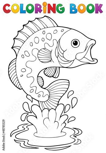 Tuinposter Doe het zelf Coloring book freshwater fishes 2