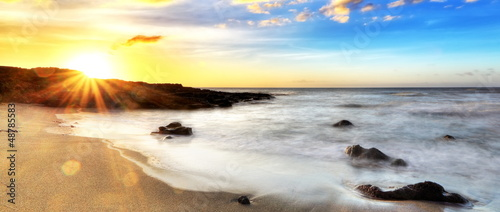 Foto-Schiebegardine Komplettsystem - Crépuscule sur la plage de Cap Champagne, La Réunion.
