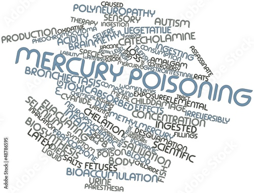 Fotografering  Word cloud for Mercury poisoning