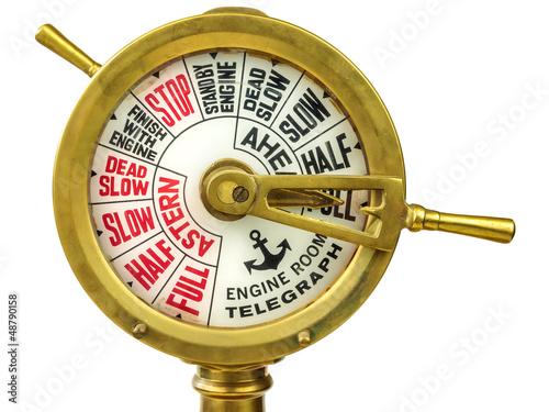 Stampa su Tela Antique nineteenth century engine room telegraph