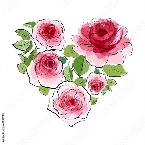 serce-roz-akwarela