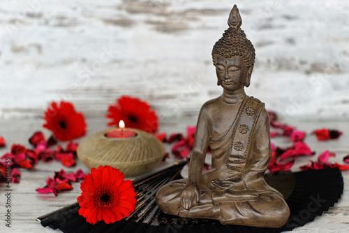Doppelrollo mit Motiv - Buddhafigur