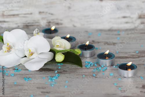 Doppelrollo mit Motiv - Orchidee mit Teelichtern