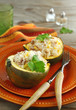 Baked acorn squash with rice and chicken stuffing ready to serve