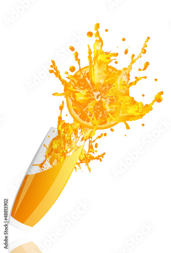 Poster Opspattend water Fresh juice orange on a white background