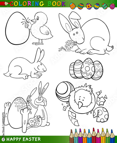 Spoed Foto op Canvas Doe het zelf easter cartoon themes for coloring