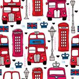 Fototapeta Młodzieżowe - Seamless love London UK red travel icon background pattern