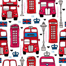 Seamless Love London UK Red Travel Icon Background Pattern