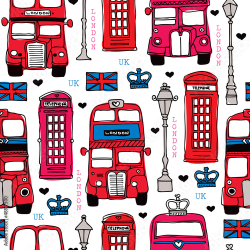 Fotografie, Tablou  Seamless love London UK red travel icon background pattern