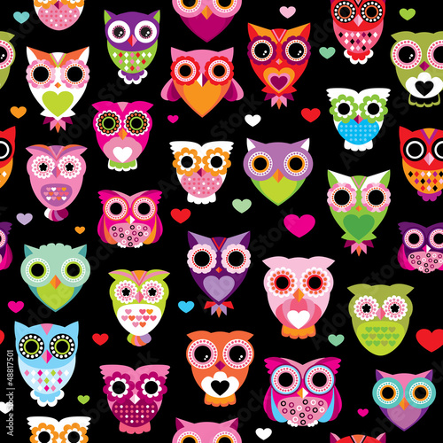 Foto op Plexiglas Uilen cartoon Seamless retro owl colorful kids background pattern in vector