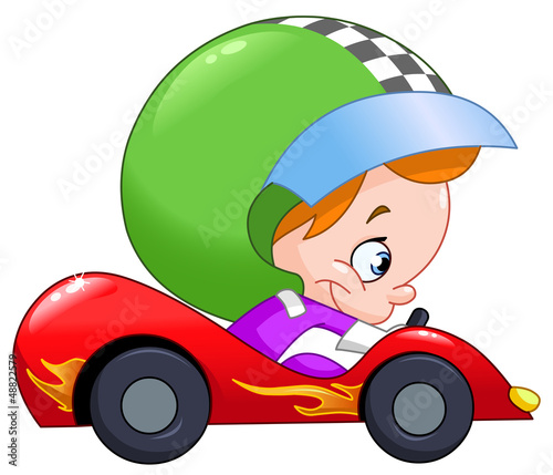 Poster Cars Kid race car driver
