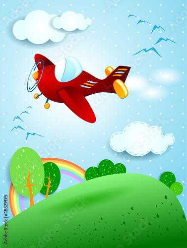 Keuken foto achterwand Vliegtuigen, ballon Red plane
