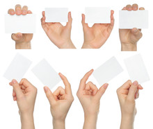Hands Hold Business Cards Coll...