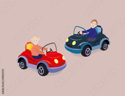 Foto op Canvas Cars Girl and boy driving toy cars