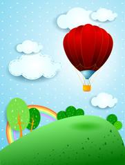 Crveni balon na vrući zrak