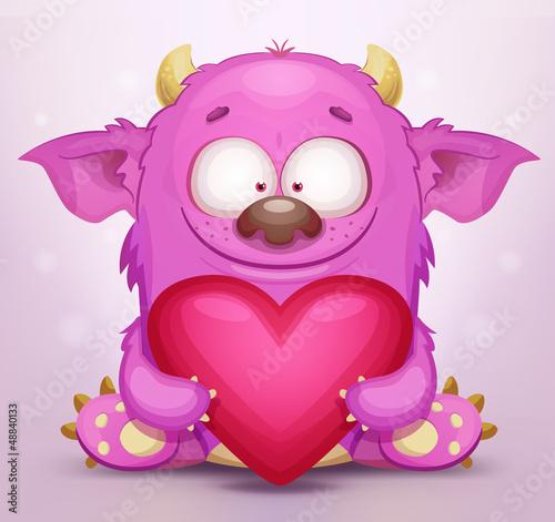 Aluminium Prints Creatures Monster in Love