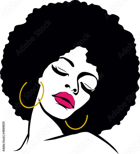 Fotobehang Vrouw gezicht afro hair hippie woman pop art
