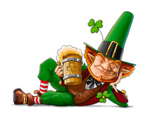 Elf Leprechaun With Beer For S...