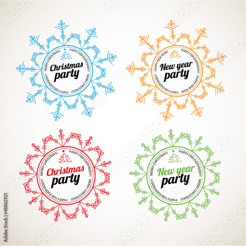 set of christmas and new year labels party labels