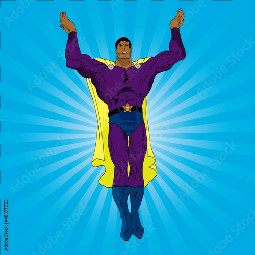 La pose en embrasure Super heros Hand drawn vector superhero