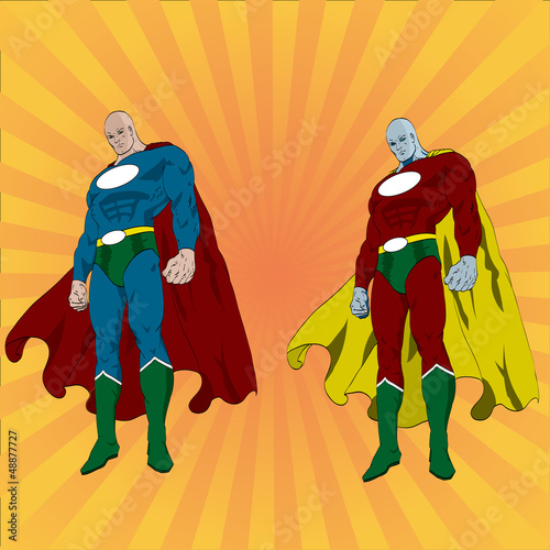 Montage in der Fensternische Superhelden Hand drawn vector superhero