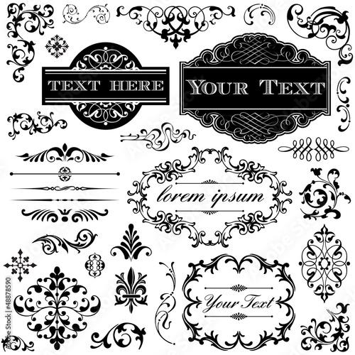 Foto  Weinlese-Verzierung-Kalligraphie-Set