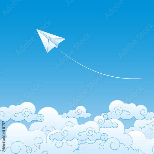 Tuinposter Hemel Paper plane against sky with clouds