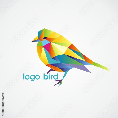Door stickers Geometric animals logo bird