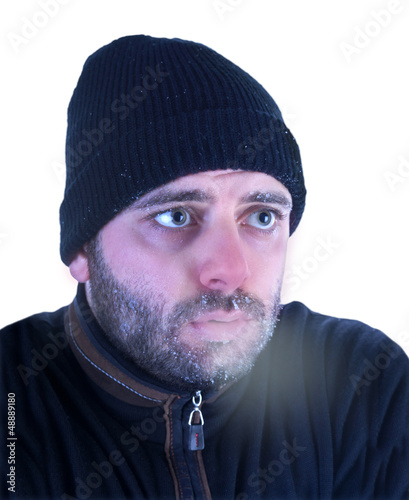 Fényképezés Man in hypothermia on a white background