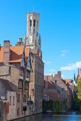 Fototapeta na wymiar Classic view of channels of Bruges. Belgium.