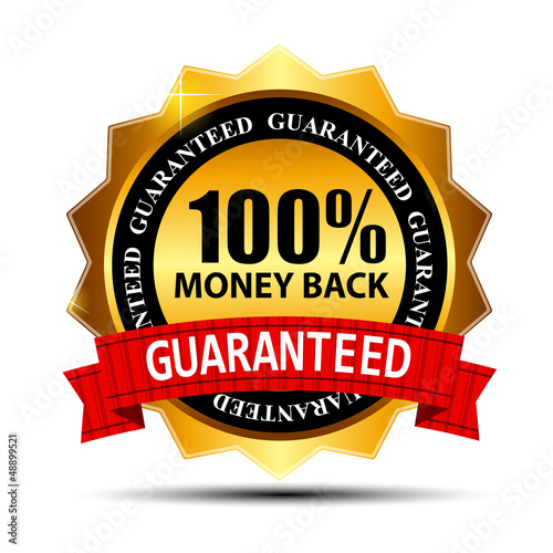 Fotografia  Vector money back guarantee gold sign, label